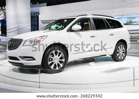 NEW YORK - APRIL 1: Buick exhibit Buick Enclave at the 2015 New York International Auto Show during Press day,  public show is running from April 3-12, 2015 in New York, NY. - stock photo