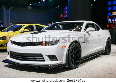 NEW YORK - APRIL 1: Chevrolet exhibit Camaro Z 28 at the 2015 New York International Auto Show during Press day,  public show is running from April 3-12, 2015 in New York, NY. - stock photo