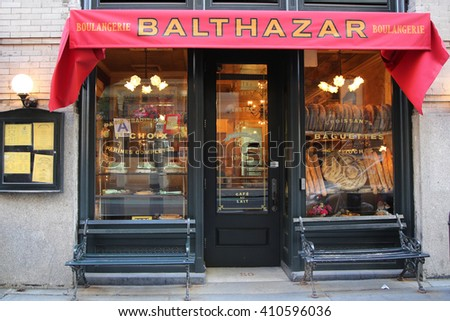 NEW YORK - APRIL 24, 2016: Famous Balthazar french restaurant in Soho in New York City - stock photo