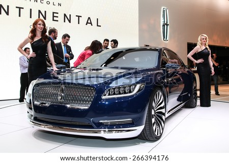 NEW YORK - APRIL 1: Lincoln exhibit Lincoln Continental concept at the 2015 New York International Auto Show during Press day,  public show is running from April 3-12, 2015 in New York, NY. - stock photo