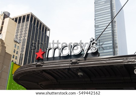 NEW YORK - APRIL 28, 2016: Macy's at Herald square in Manhattan. It is the flagship of Macy's department stores with 2.2 million square feet retail space