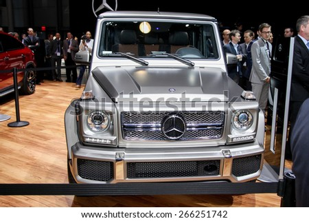 NEW YORK - APRIL 1: Mercedes Benz exhibit New G-65  at the 2015 New York International Auto Show during Press day,  public show is running from April 3-12, 2015 in New York, NY. - stock photo