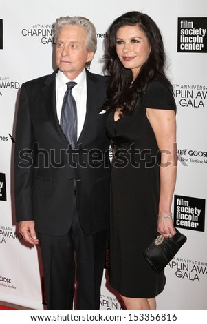 NEW YORK - APRIL 22: Michael Douglas and Catherine Zeta-Jones attend the 40th Anniversary Chaplin Award Gala at Lincoln Center on April 22, 2013 in New York City.