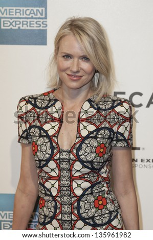 NEW YORK - APRIL 20: Naomi Watts attends 'The Sunlight Jr.' premiere at Tribeca Film Festival at BMCC on April 20, 2013 in New York City - stock photo