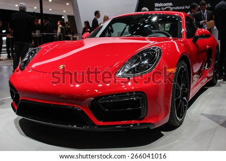 NEW YORK - APRIL 1: Porsche exhibit Cayman GTS at the 2015 New York International Auto Show during Press day,  public show is running from April 3-12, 2015 in New York, NY. - stock photo