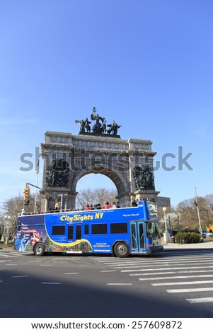 New York - April 15, 2013: Soldiers and Sailors Monument at the Grand Army Plaza in Brooklyn, New York. In 1975, Grand Army Plaza became a National Historic Landmark. - stock photo