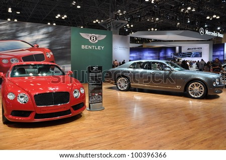 NEW YORK - APRIL 11: The Bentley exhibit at the 2012 New York International Auto Show running from April 6 to April 15, 2012 in New York, NY.