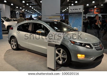 NEW YORK - APRIL 11: The Chevy Volt at the 2012 New York International Auto Show running from April 6-15, 2012 in New York, NY. - stock photo