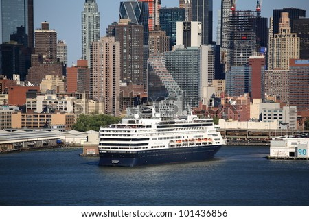 NEW YORK - APRIL 29: The cruise ship Veendam docked in Manhattan on April 29, 2012 in New York. The ship has 633 cabins and crews of over 600. - stock photo