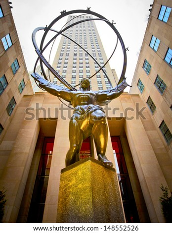 NEW YORK - APRIL 17: The famous Atlas statue on 5th Avenue outside the GE Rockefeller Building in New York City on April 17th, 2011 in New York, NY, USA. - stock photo