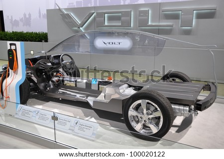 NEW YORK - APRIL 11: The internal workings of the Chevy Volt at the 2012 New York International Auto Show running from April 6-15, 2012 in New York, NY. - stock photo