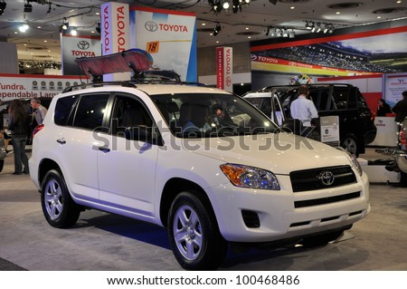 NEW YORK - APRIL 11: Toyota RAV4 at the 2012 New York International Auto Show running from April 6-15, 2012 in New York, NY. - stock photo