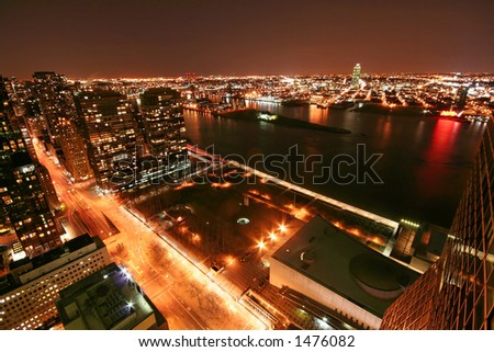 New York at night, northeast, from 2nd avenue and 44th Street