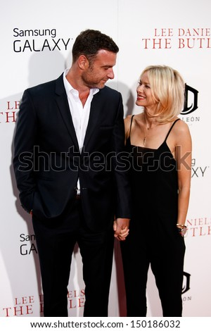 "NEW YORK-AUG 5: Actors Liev Schreiber and Naomi Watts  attend the premiere of Lee Daniels' ""The Butler"" at the Ziegfeld Theatre on August 5, 2013 in New York City.  - stock photo"