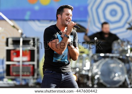 NEW YORK-AUG 7: Country music singer Luke Bryan performs onstage at ABC's Good Morning America Summer Concert Series at Rumsey Playfield on August 7, 2015 in New York City. - stock photo