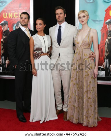 "NEW YORK-AUG 10: (L-R) Actors Henry Cavill, Alicia Vikaner, Armie Hammer and Elizabeth Debicki attend ""The Man From U.N.C.L.E."" premiere at the Ziegfeld Theatre on August 10, 2015 in New York City."