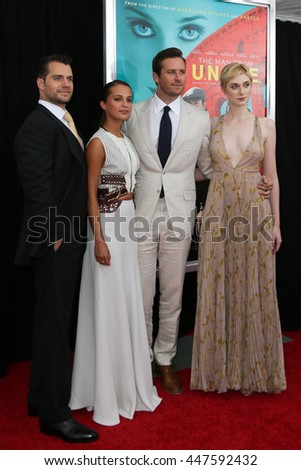 "NEW YORK-AUG 10: (L-R) Actors Henry Cavill, Alicia Vikaner, Armie Hammer and Elizabeth Debicki attend ""The Man From U.N.C.L.E."" premiere at the Ziegfeld Theatre on August 10, 2015 in New York City. - stock photo"