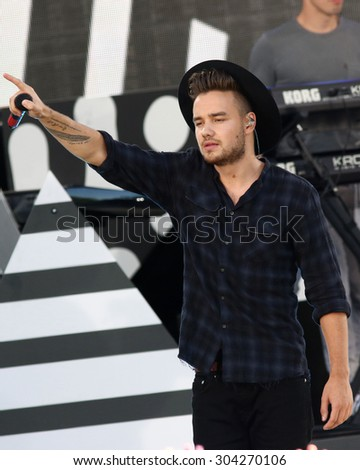 NEW YORK - AUG 4: Liam Payne of One Direction performs on 'Good Morning America' in Central Park on August 4, 2015 in New York City. - stock photo