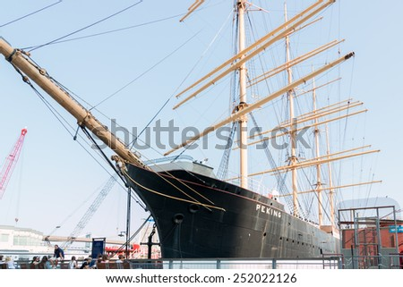 New York, Aug 20: The famous Pecking is docked at South Street Sea  Port in New York City serving as a maritime museum - August 20, 2014 New York, USA - stock photo