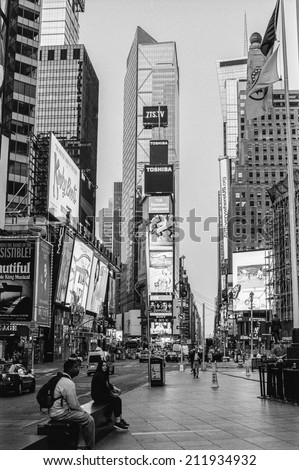 NEW YORK-AUGUST 8-A black and white film photograph look a Times Square very early morning on August 8 2014 in New York City. - stock photo