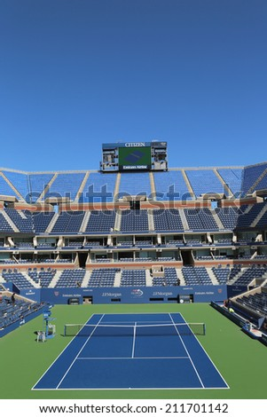 NEW YORK- AUGUST 18: Arthur Ashe Stadium at the Billie Jean King National Tennis Center ready for US Open tournament on August 18, 2014 in New York - stock photo
