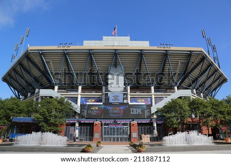 NEW YORK- AUGUST 19: Arthur Ashe Stadium at the Billie Jean King National Tennis Center ready for US Open tournament on August 19, 2014 in New York