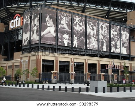 NEW YORK - AUGUST 19: Famous Met baseball players depicted outside brand new Citi Field on August 19, 2009 in New York. - stock photo
