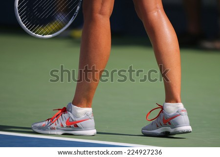 NEW YORK - AUGUST 31 Five times Grand Slam champion Mariya Sharapova wears custom Nike tennis shoes during match at US Open 2014 at Billie Jean King National Tennis Center on August 31, 2014 in NY - stock photo