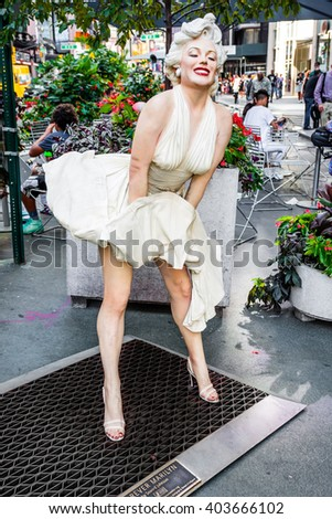 NEW YORK-AUGUST 7- Forever Marilyn a statue by Seward Johnson on display August 7 2015 in midtown Manhattan. - stock photo