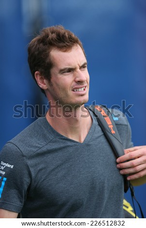 NEW YORK - AUGUST 23: Grand Slam Champion Andy Murray after practice for US Open 2014 at Billie Jean King National Tennis Center on August 23 , 2014 in New York  - stock photo