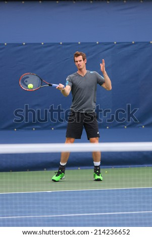 NEW YORK - AUGUST 23: Grand Slam Champion Andy Murray practices for US Open 2014 at Billie Jean King National Tennis Center on August 23 , 2014 in New York  - stock photo