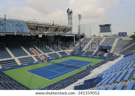 NEW YORK - AUGUST 24, 2015: Louis Armstrong Stadium at the Billie Jean King National Tennis Center ready for US Open tournament in Flushing, NY