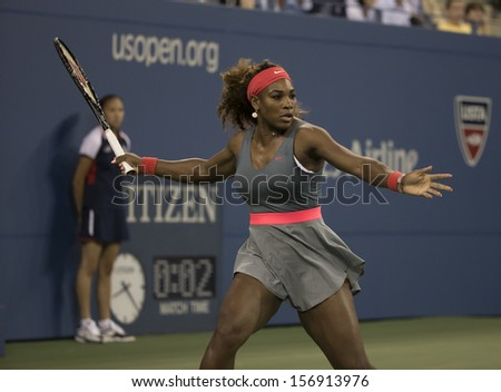 NEW YORK - AUGUST 26: Serena Williams of USA returns ball during 1st round match against Francesca Schiavone of Italy at 2013 US Open at USTA Billie Jean King Tennis Center on August 26, 2013 in NYC - stock photo