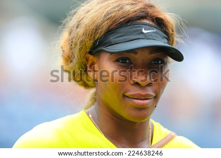 NEW YORK - AUGUST 23: Seventeen times Grand Slam champion Serena Williams practices for US Open 2014 at Billie Jean King National Tennis Center on August 23 , 2014 in New York - stock photo