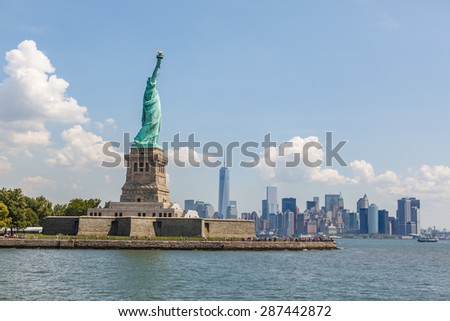 NEW YORK - AUGUST 2014: Statue of Liberty on Liberty Island in New York Harbor, in Manhattan, NY on August 11, 2014. Statue of Liberty is one of the most recognizable landmarks of New York City. - stock photo