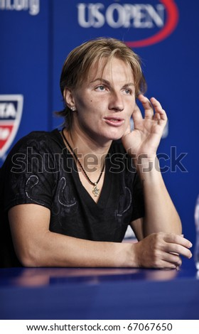 NEW YORK - AUGUST 31: Svetlana Kuznetsova attends press conference at US Open tennis tournament on August 31, 2010, New York. - stock photo