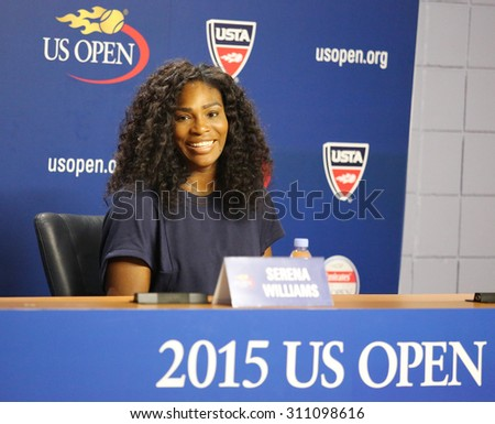 NEW YORK - AUGUST 27, 2015: Twenty one times Grand Slam champion Serena Williams during press conference at the Billie Jean King National Tennis Center before  US Open 2015 tournament in Flushing, NY - stock photo