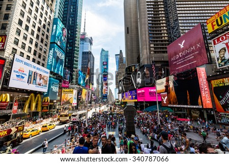 NEW YORK - AUGUST 22: Views of the rush streets of Manhattan at Times Square on August 22, 2015. Times Square is a busy place in the Midtown district of Manhattan, New York.