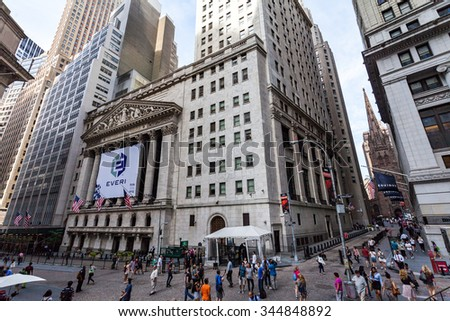 NEW YORK - AUGUST 24: Views of to the Wall Street and Buildings in the financial district in Manhattan Downtown, New York on August 24, 2015. Wall Street is an important financial place.