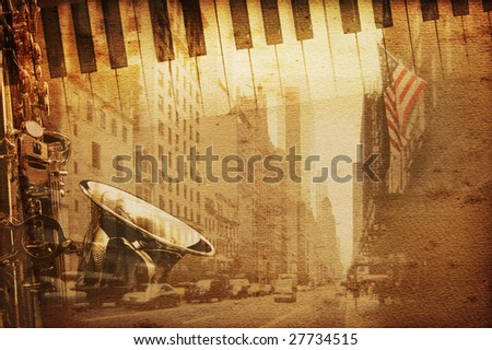 new york background with broadway - stock photo