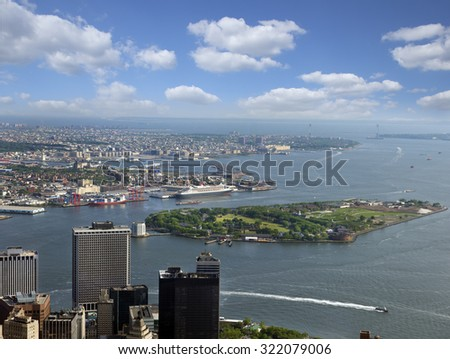 New York, Battery Park, Governors Island, Hudson River, Brooklyn and Lower Manhattan, USA - stock photo