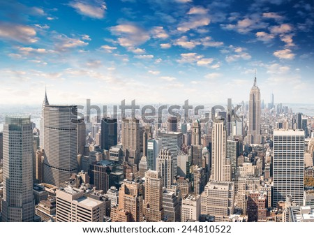 New York. Beautiful panoramic view of Manhattan skyline and buildings. - stock photo