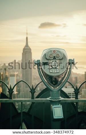 New York Binoculars - stock photo