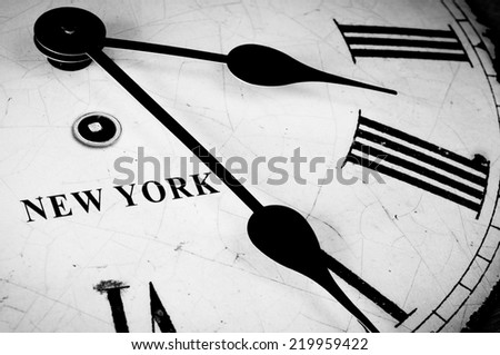 New York black and white clock face - stock photo