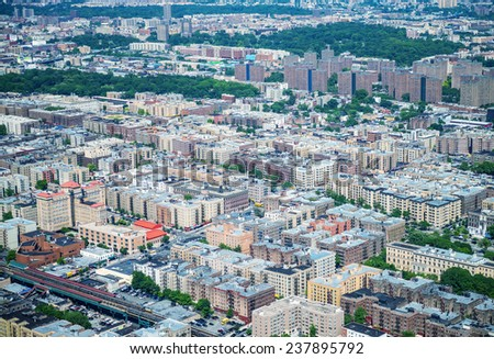 New York Buildings as seen from helicopter. - stock photo