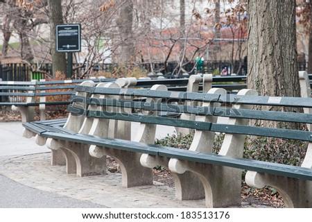 new york central park parkbench - stock photo