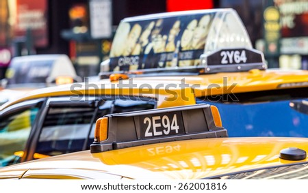 New York, circa dec 2014: close up of unidentified yellow cab in Manhattan - stock photo