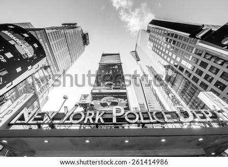 New York circa dec 2014: street view of New york police dept and buildings in times square from street to sky in Manhattan. - stock photo