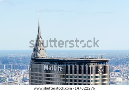NEW YORK - CIRCA MAY 2013: MetLife Building and Chrysler Building, New York, circa May 2013. The buildings are 2 of the tallest skyscrapers, as well as 2 of the major landmarks, in New York City - stock photo