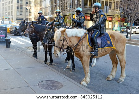 NEW YORK - CIRCA November 2015. Despite the use of more modern technology and equipment, the NYPD Mounted Police Unit still has their use in urban New York City.